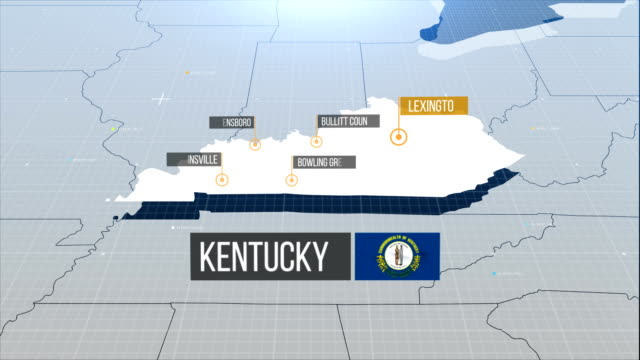 kentucky state map - kentucky stock videos & royalty-free footage