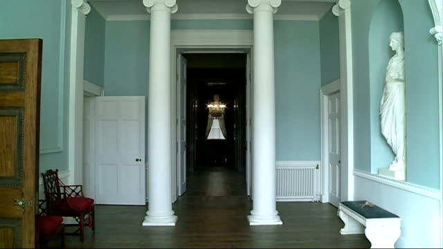 kenwood house opens after renovations room with column wooden floor and seats tilt up ornate ceiling reporter to camera painting of two women columns... - hugging self stock videos & royalty-free footage
