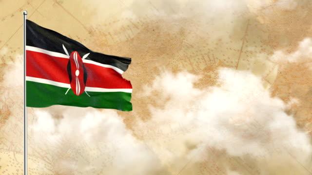 kenya 3d flag on  historical background then blue sky background - kenyan flag stock videos & royalty-free footage