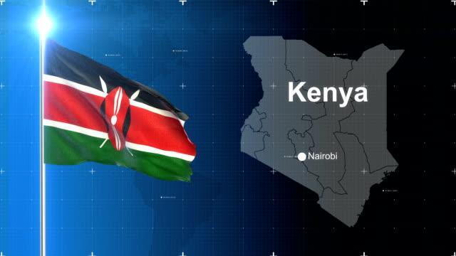 kenya 3d flag with map + green screen - kenyan flag stock videos & royalty-free footage