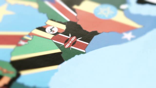 Kenya Borders with National Flag on World Map