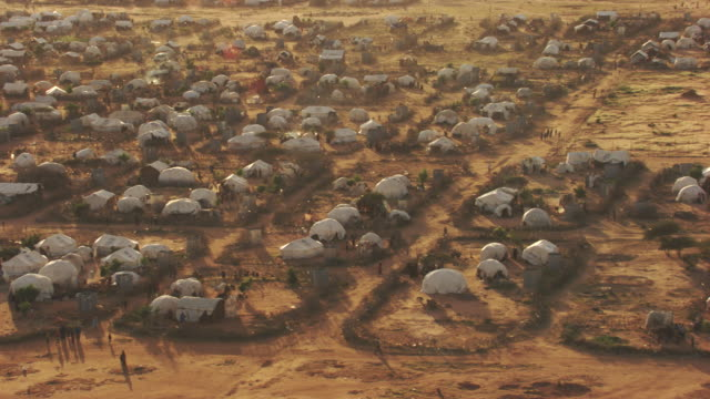kenya, dabaab: aerial view of ifo camp - refugee stock videos & royalty-free footage