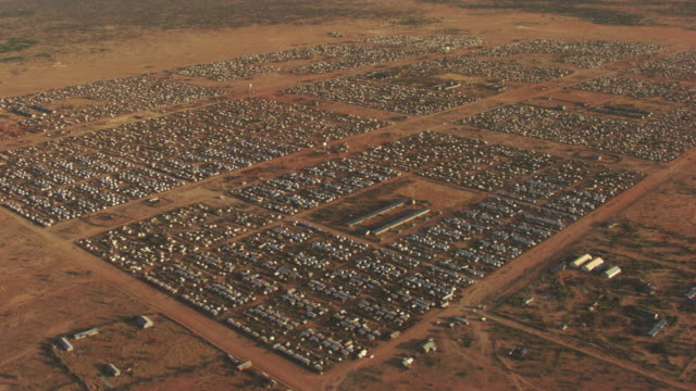 kenya, dabaab: aerial view of ifo2 camp - refugee stock videos & royalty-free footage
