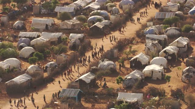 kenya dadaab : wide plan of hagadera camp - refugee camp stock videos & royalty-free footage