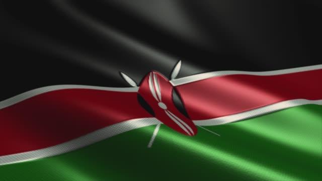 kenya flag  high detail - looping stock video - kenyan flag stock videos & royalty-free footage