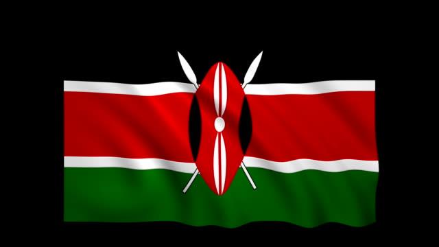 stockvideo's en b-roll-footage met kenia vlag loopbare alpha inbegrepen - stock video - vlag