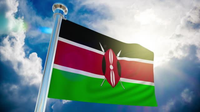 4k - kenya flag | loopable stock video - kenyan flag stock videos & royalty-free footage