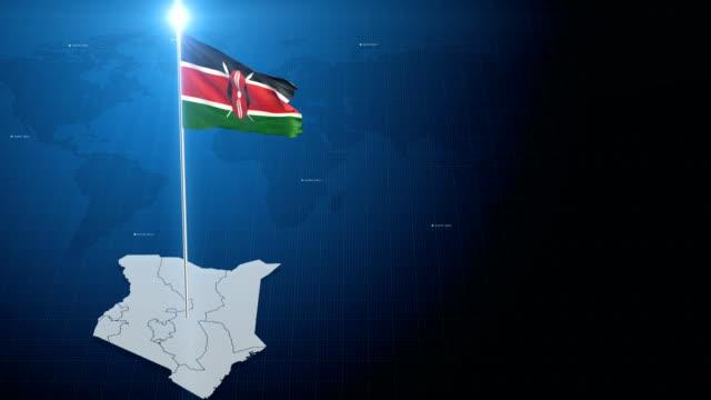 kenyan flag with map + green screen background - kenyan flag stock videos & royalty-free footage