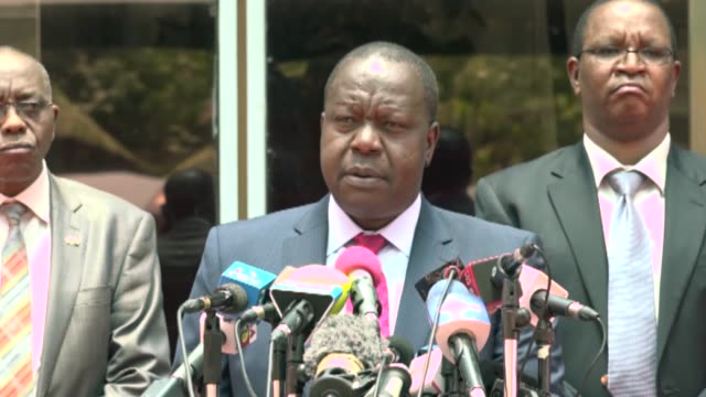 Kenyan Interior Minister Fred Matiangi delivers a speech during a press conference on October 12 in Nairobi after he banned protests in main city...