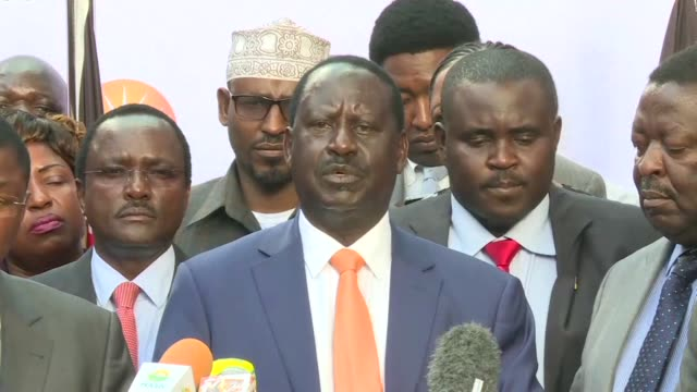 kenyan opposition leader raila odinga announces he is withdrawing from a re run of the presidential election saying electoral officials have failed... - raila odinga stock videos and b-roll footage