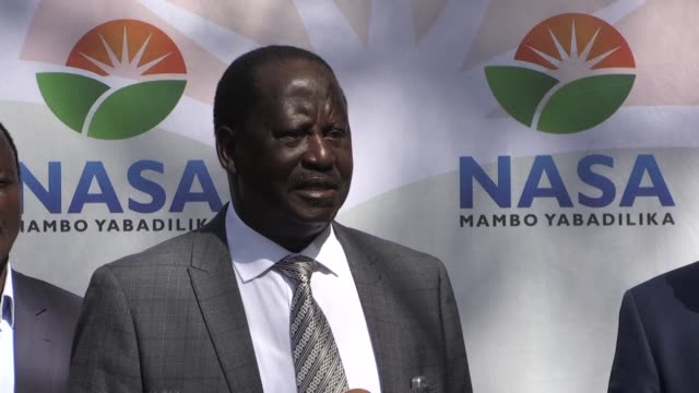 kenyan opposition leader raila odinga maintains he won the august 8th elections justifying his swearing in at a mock inauguration earlier this week... - raila odinga stock videos and b-roll footage