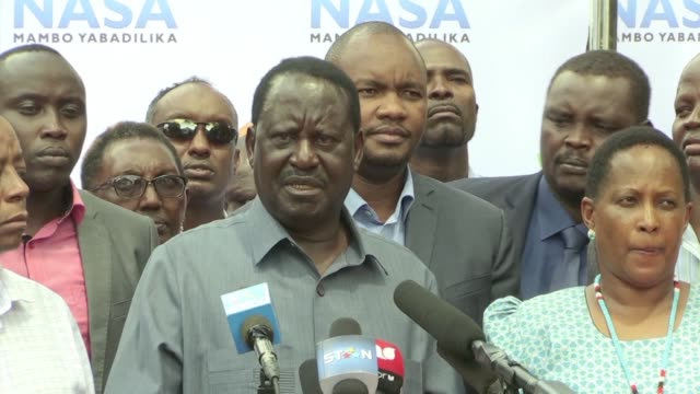 kenyan opposition leader raila odinga says he will not take part in a re run of the presidential election on october 26 if his demands for electoral... - raila odinga stock videos and b-roll footage
