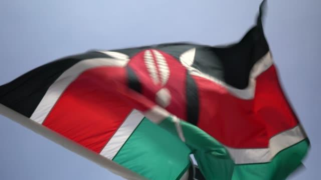 kenyan waving flag - kenyan flag stock videos & royalty-free footage