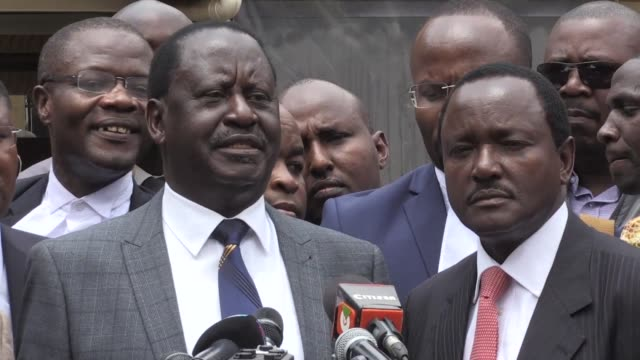 kenya's opposition leader raila odinga hails as historic a court decision nullifying an election won by president uhuru kenyatta and calling for a re... - raila odinga stock videos and b-roll footage