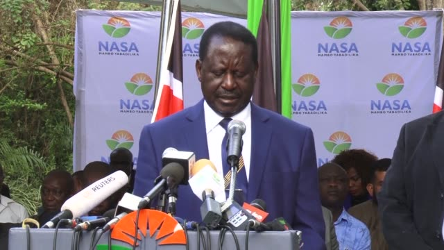 kenya's opposition leader raila odinga on tuesday rejected outright the result of last week's sham election vowing to fight on after the protest hit... - raila odinga stock videos and b-roll footage