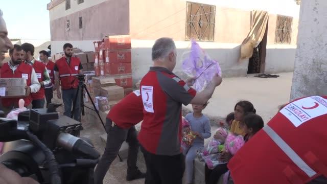 kerem kinik chairman of turkish red crescent visits zemzem orphanage in idlib syria on june 01 2017 kinik said syrian civil war produced around 1... - red cross stock videos & royalty-free footage