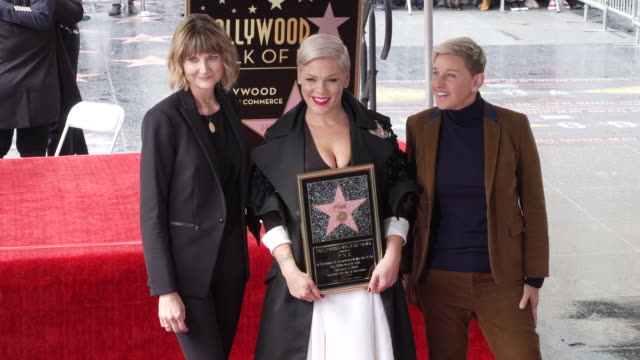 keri kenneysilver pink and ellen degeneres attend the ceremony honoring pink with star on the hollywood walk of fame on february 5 2019 in hollywood... - walk of fame stock videos & royalty-free footage