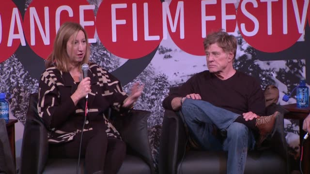 speech keri putnam at day one press conference 2014 sundance film festival at egyptian theatre on in park city utah - park city utah video stock e b–roll