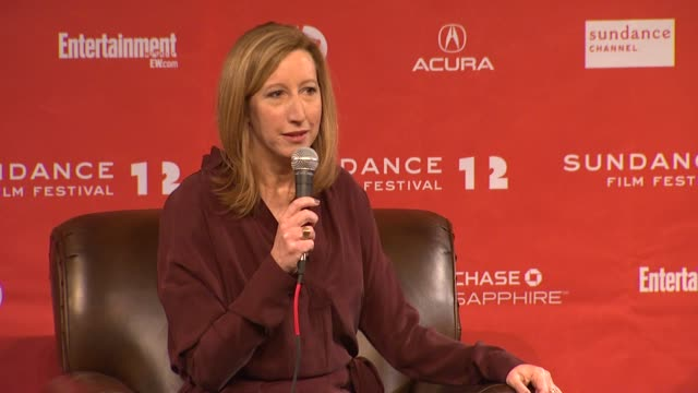 keri putnam on supporting independent artists at day 1 press conference of 2012 sundance film festival on 1/19/12 in park city utah - 1日目点の映像素材/bロール
