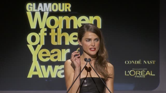 SPEECH Keri Russell says Dr Sylvia Earle's nickname is 'her deepness' and is the inspiration behind the lego figurine she hold in her hand award is...