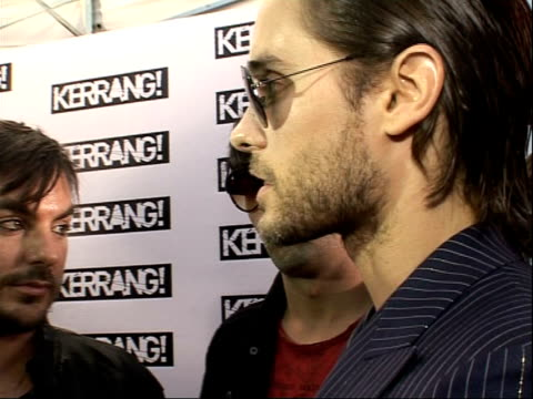 Interviews 30 Seconds To Mars speaking to press SOT Being chuffed / being up against Bullet For My Valentine / good year for the band / making new...