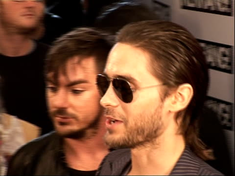Interviews Biffy Clyro speaking to press / Jared Leto and other band members of 30 Seconds To Mars arriving / 30 Seconds To Mars speaking to press /...