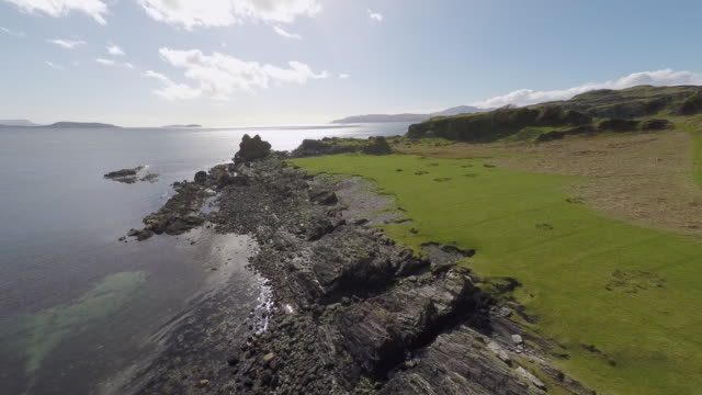 kerrera island scotland, aerial view of valley and coastline - scotland stock videos & royalty-free footage