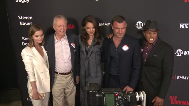 """kerris dorsey, jon voight, katie holmes, liev schreiber and pooch hall at for your consideration screening and panel for showtime's """"ray donovan"""" -... - showtime video stock e b–roll"""