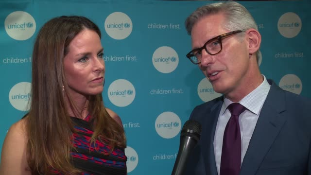 interview kerry swords and bryan rafanelli talk about looking forward to the guests' reactions to the story wall and all the work unicef is doing to... - the castle stock videos and b-roll footage