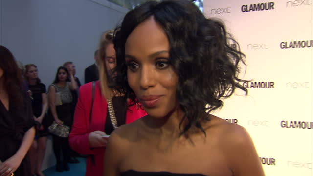 vidéos et rushes de kerry washington, actress talking about season finale of scandal series 4. the glamour awards took place on june 02, 2015 in london, england. - actrice