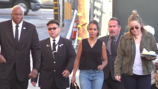 kerry washington arriving to jimmy kimmel live in hollywood celebrity sightings on february 18 2016 in los angeles california - jimmy kimmel stock videos and b-roll footage