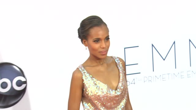 kerry washington at 64th primetime emmy awards arrivals on 9/23/12 in los angeles ca - emmy awards stock videos & royalty-free footage