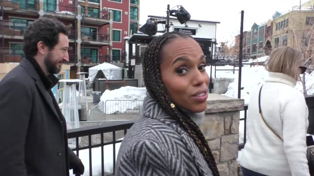 stockvideo's en b-roll-footage met kerry washington at the sundance film festival on main street in park city utah in celebrity sightings in park city utah - sundance film festival