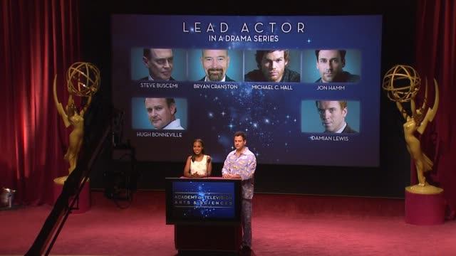 kerry washington & jimmy kimmel announce the 64th primetime emmy nominations at the 64th primetime emmy awards nominations announcement, north... - emmy awards nominations stock videos & royalty-free footage