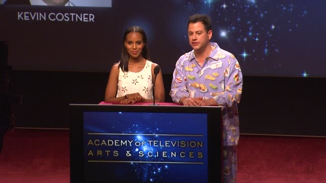 kerry washington jimmy kimmel announce the 64th primetime emmy nominations at the 64th primetime emmy awards nominations announcement north hollywood... - jimmy kimmel stock videos and b-roll footage