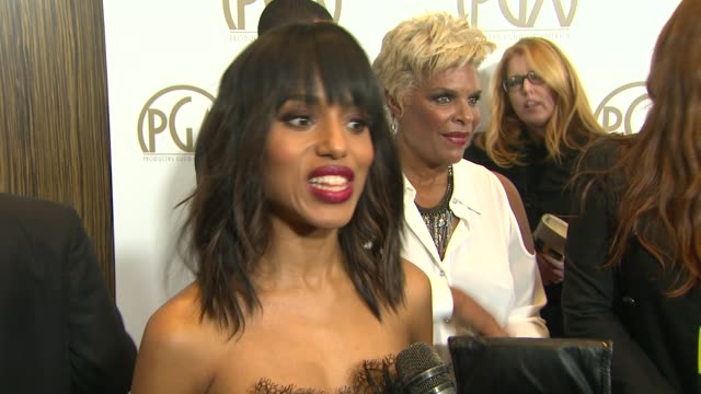 interview kerry washington on presenting on what makes a good producer at the 24th annual producers guild of america awards on 1/26/13 in beverly... - プロデューサー点の映像素材/bロール