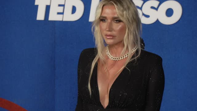 """kesha at apple's """"ted lasso"""" season 2 premiere - arrivals at pacific design center on july 15, 2021 in west hollywood, california. - west hollywood stock videos & royalty-free footage"""