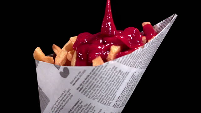ketchup being poured on french fries (super slow motion) - sauce stock videos & royalty-free footage