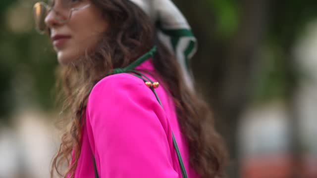 ketevan giorgadze @katie.one wears a white checkered and green scarf from victoria ragna, sunglasses, a white ribbed t-shirt, a pink fuchsia blazer... - bag stock videos & royalty-free footage