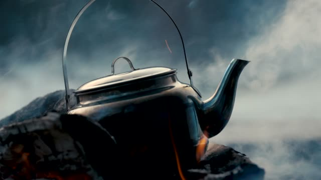 a kettle on a bonfire - firewood stock videos & royalty-free footage