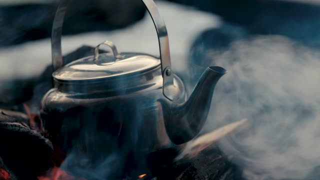 a kettle on a bonfire - grilled stock videos & royalty-free footage