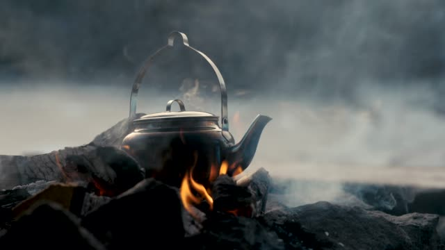 a kettle on a bonfire - kettle stock videos & royalty-free footage