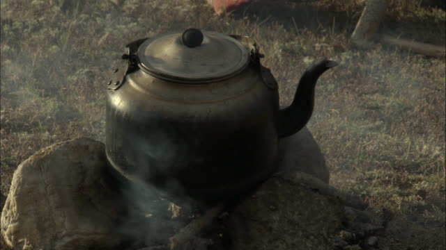 kettle on camp fire, kalamaili nature reserve, xinjiang, china - やかん点の映像素材/bロール