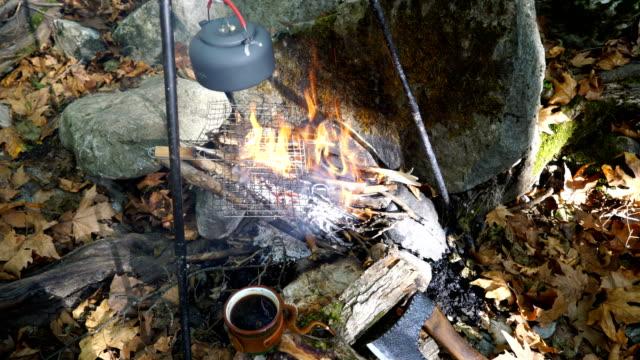 vidéos et rushes de bouilloire sur le feu de camp à la forêt - théière