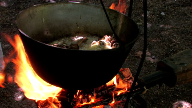 HD Kettle with cooking meat over burning campfire