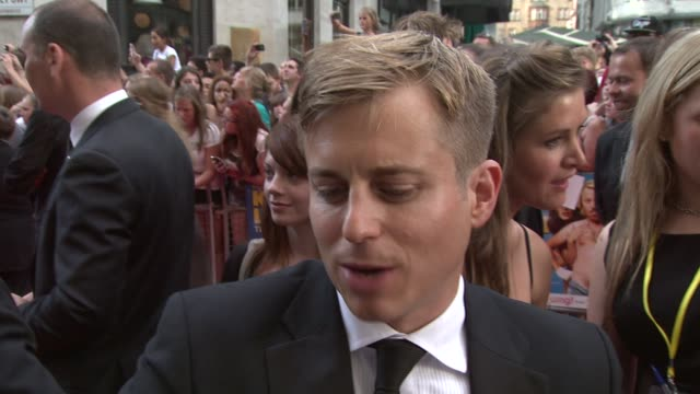 kevin bishop on his new film 'a few best men' filming on set working with kelly brook at keith lemon the film uk premiere at odeon leicester square... - kelly brook stock-videos und b-roll-filmmaterial