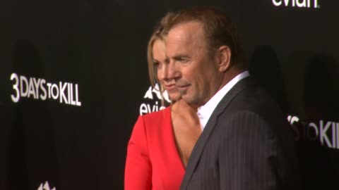 """kevin costner and christine baumgartner at """"3 days to kill"""" los angeles premiere at arclight cinemas on in hollywood, california. - arclight cinemas hollywood stock videos & royalty-free footage"""