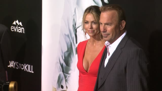 kevin costner and christine baumgartner at 3 days to kill los angeles premiere at arclight cinemas on in hollywood california - kevin costner stock videos & royalty-free footage