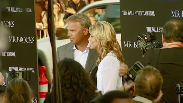 kevin costner and wife christine at the 'mr brooks' los angeles premiere at grauman's chinese theatre in hollywood california on may 22 2007 - kevin costner stock videos & royalty-free footage