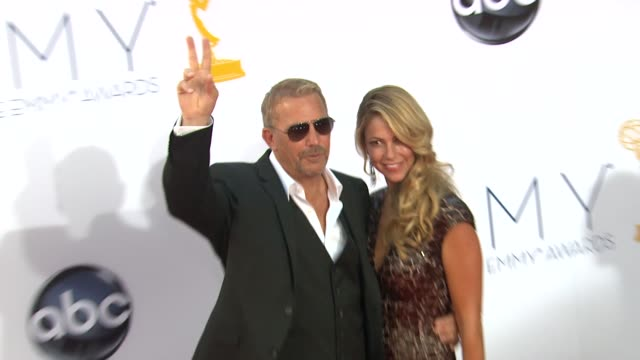 kevin costner at 64th primetime emmy awards arrivals on 9/23/12 in los angeles ca - kevin costner stock videos & royalty-free footage